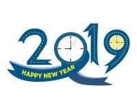2019 idérika design för lyckligt nytt år för ditt hälsningskort, reklamblad, inbjudan, affischer, broschyr, baner, kalender Vekto vektor illustrationer
