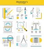 Idérika hjälpmedel för illustratör` s som ska användas i arbete, symbolsuppsättning av nio objekt royaltyfri illustrationer