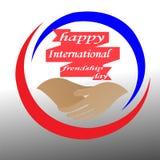 Idérika logoer gratulerar kamratskapet av världen, för din bästa vän royaltyfri illustrationer