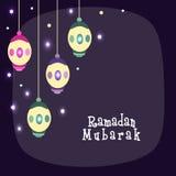 Idérika lyktor för Ramadan Mubarak beröm Royaltyfri Bild