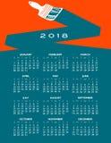 2018 idérika målningkalender Royaltyfria Bilder