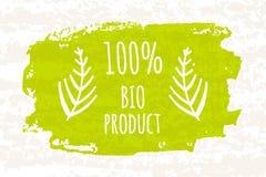 Idérika produkter för gräsplan 100 för affischen färgrika bantar bio för ett sunt och fasthållande för att banta isolerat på vit  Royaltyfri Fotografi