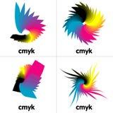 idérika symboler för cmyk Arkivbilder
