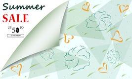 Idérika titelrader eller baner för sommarSale bakgrund med rabatterbjudande Konstaffischer Design f?r s?songsbetonad rensning Det stock illustrationer
