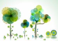 Idérika träd och borste Arkivbild