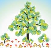 Idérika träd och champinjoner Royaltyfri Bild