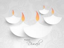 Idérika upplysta tända lampor för lycklig Diwali beröm vektor illustrationer