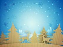 Idérika Xmas-träd och renar för jul Royaltyfri Bild