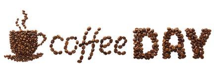 Id?rikt baner f?r kaffedag Kopp som g?ras av kaffeb?nor och text royaltyfri foto