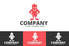 Idérikt batteri och energi Logo Design Isolated på vit bakgrund stock illustrationer