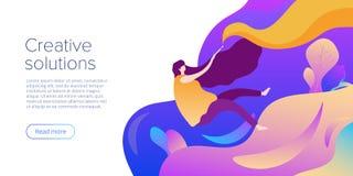 Idérikt begrepp för lösningsvektorillustration i plan design Formgivare, konstnär eller illustratör för ung kvinna frilans- websi royaltyfri illustrationer