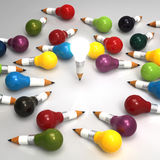 Idérikt begrepp för teckningsidéblyertspenna och för ljus kula och leadersh Arkivfoto