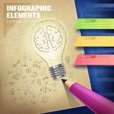 Idérikt begrepp som är infographic med den belysningkulan och blyertspennan Arkivbilder