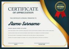 Idérikt certifikat av gillandeutmärkelsemallen Certifikatmalldesign med det bästa utmärkelsesymbolet och blåa och guld- former royaltyfri illustrationer