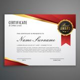 idérikt certifikat av gillandeutmärkelsemallen i rött och G Arkivbild
