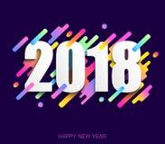 Idérikt designkort för lyckligt nytt år 2018 på modern bakgrund V Royaltyfria Foton