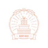 Idérikt emblem för jul och för år med gåvaaskar Arkivbilder
