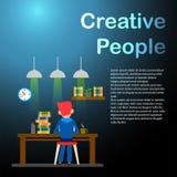 Idérikt folk freelancer lycklig manworking Vektorillustrat royaltyfri illustrationer