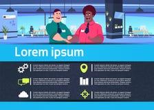 Idérikt infographic begrepp för förhållande för affärsman för handskakning för lag för kommunikationsmixraceaffär i regeringsstäl royaltyfri illustrationer