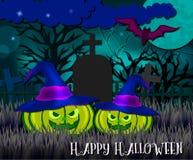 Idérikt kort för halloween vektordesign med pumpa och musen royaltyfri illustrationer
