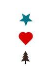 Idérikt kort med en stjärna-, hjärta- och julträdillustration Royaltyfri Fotografi