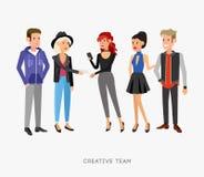 Idérikt lagfolk Teamwork, scenansvarig och formgivare stock illustrationer