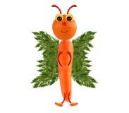 Idérikt matbegrepp Rolig liten fjäril som göras av frukter och Arkivbild