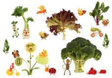 Idérikt matbegrepp Sagolikt land som göras av frukter och veg Royaltyfri Fotografi