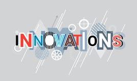 Idérikt ord för innovationteknologi över abstrakt geometriskt baner för formbakgrundsrengöringsduk stock illustrationer