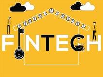 Idérikt ordbegrepp Fintech och affärsfolk som gör släkta aktiviteter vektor illustrationer