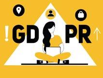 Idérikt ordbegrepp GDPR och kvinna som gör saker vektor illustrationer