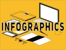 Idérikt ordbegrepp Infographics och symbolsillustration stock illustrationer