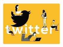 Idérikt ordbegrepp Twitter och folk som gör saker royaltyfri illustrationer