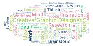 Idérikt ordmoln för grafisk formgivare som göras med text endast vektor illustrationer