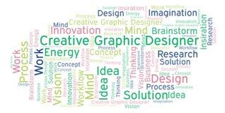 Idérikt ordmoln för grafisk formgivare som göras med text endast stock illustrationer