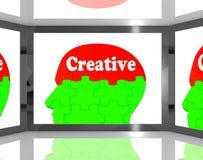 Idérikt på Brain On Screen Shows Human kreativitet Royaltyfri Fotografi
