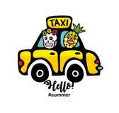 Idérikt sommartryck med den gula taxibilen och monster vektor illustrationer