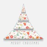 Idérikt träd X-mas för berömmar för glad jul Arkivbild