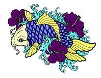 Idérikt trevligt emblem eller logo av den nya populära sushirestaurangen Royaltyfri Bild