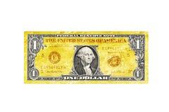 Idérikt USA en dollarräkning som isoleras - guld Arkivfoton