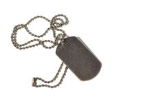 Id. Soldier's Medallion, the so-called dog-chip. Shabby, with traces of rust Stock Photography