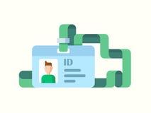 与扭转的丝带平的样式的徽章ID 免版税库存照片