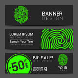 ID app icon. Fingerprint banner vector Royalty Free Stock Photos
