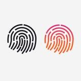 ID app icon. Vector set. Fingerprint for identification. Flat line illustration.  Stock Photo