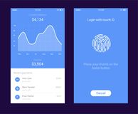 ID Application with icon of fingerprint and graph interface. Fingerprint vector icon. Log on fingerprint, protection. Personal data, login to the account Royalty Free Stock Photos