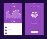 ID Application with icon of fingerprint and graph interface. Fingerprint vector icon. Log on fingerprint, protection. Personal data, login to the account Royalty Free Stock Photo