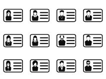 Id card head icon set Royalty Free Stock Image