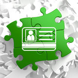 ID Card Icon on Green Puzzle. Royalty Free Stock Photo