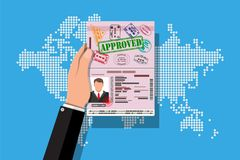 ID card icon. Identity card, national id card. Passport card with visas stamps in hand. Electronic chip and man photo. World map background. Vector Stock Images