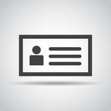 ID card icon with shadow on a gray background. Vector illustration Royalty Free Stock Photo